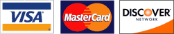Major credit cards accepted: VISA, MASTERCARD, DISCOVER